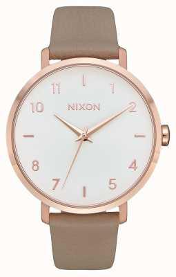 Nixon Arrow in pelle | oro rosa / grigio | cinturino in pelle grigia | quadrante bianco A1091-2239-00