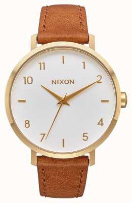 Nixon Arrow in pelle | oro / bianco / sella | cinturino in pelle marrone | quadrante bianco A1091-2621-00