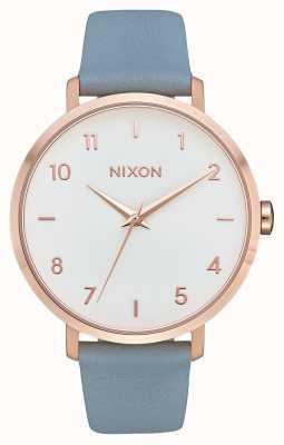 Nixon Arrow in pelle | oro rosa / blu | cinturino in pelle blu | quadrante bianco A1091-2704-00