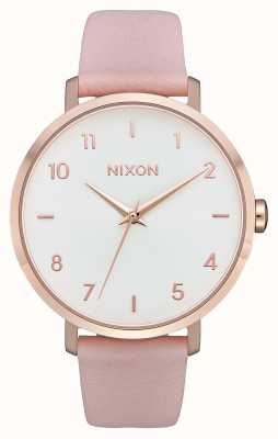 Nixon Arrow in pelle | oro rosa / rosa chiaro | cinturino in pelle rosa | quadrante bianco A1091-3027-00