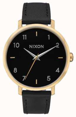 Nixon Arrow in pelle | oro / nero | cinturino in pelle nera | quadrante nero A1091-513-00