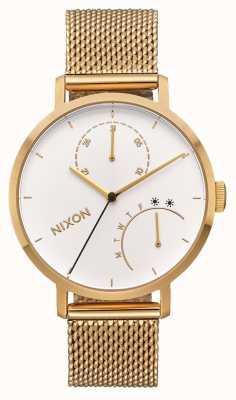 Nixon Frizione | tutto oro / bianco | bracciale in oro ip mesh | quadrante bianco A1166-504-00