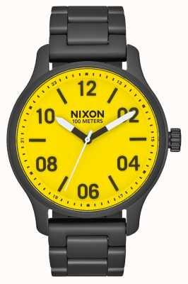 Nixon Pattuglia | tutto nero / giallo | bracciale in acciaio ip nero | quadrante giallo A1242-3132-00