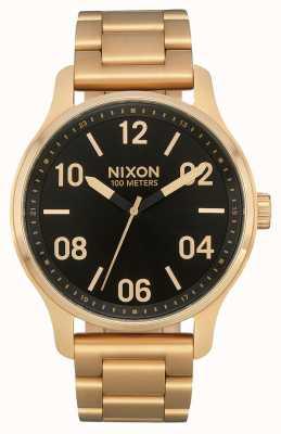 Nixon Pattuglia | oro / nero | bracciale in acciaio ip oro | quadrante nero A1242-513-00