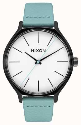 Nixon Clique pelle | nero / menta | cinturino in pelle verde menta | quadrante bianco A1250-3317-00