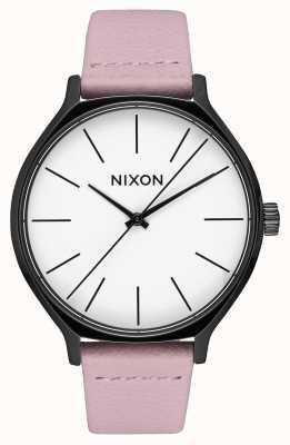 Nixon Clique pelle | nero / corallo | cinturino in pelle rosa | quadrante bianco A1250-3318-00
