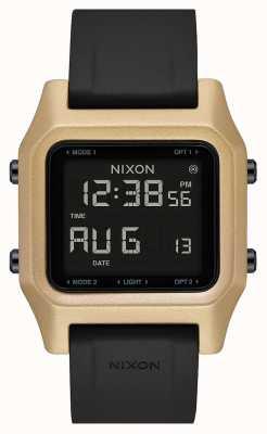 Nixon Staple | nero / oro | digitale | cinturino in silicone nero A1309-010-00