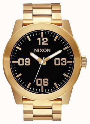 Nixon Caporale ss | tutto oro / nero | bracciale in acciaio ip oro | quadrante nero A346-510-00