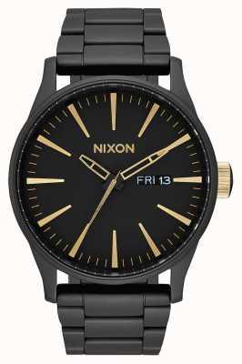 Nixon Sentry ss | nero opaco / oro | bracciale in acciaio ip nero | quadrante nero A356-1041-00