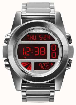 Nixon Unità ss | argento / rosso | digitale | bracciale in acciaio inossidabile A360-1263-00