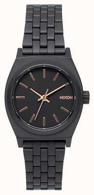 Nixon Piccolo cassiere | tutto nero / oro rosa | bracciale in acciaio ip nero | quadrante nero A399-957-00