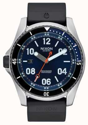 Nixon Discensore sport | raggio di sole blu | cinturino in silicone nero | quadrante blu A960-1258-00