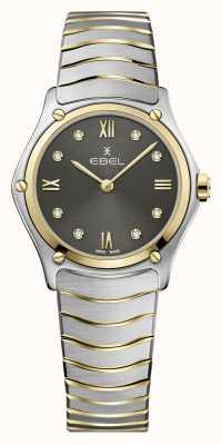 EBEL Classico sportivo da donna | bracciale in acciaio bicolore | quadrante grigio diamante 1216419A