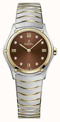 EBEL Classico sportivo da donna | bracciale in acciaio inossidabile bicolore | quadrante marrone 1216445A