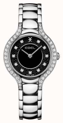 EBEL Beluga femminile | bracciale in acciaio inossidabile | quadrante nero | set di diamanti 1216466