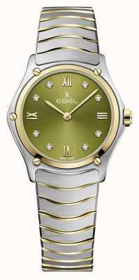 EBEL Classico sportivo da donna | bracciale in acciaio bicolore | quadrante verde 1216473A