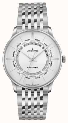 Junghans Vetro zaffiro Meister worldtimer | bracciale in acciaio inossidabile | quadrante argentato 027/3011.46