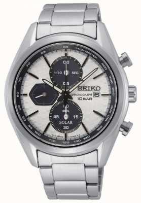 Seiko Solare maschile | bracciale in acciaio inossidabile | quadrante cronografo argento SSC769P1