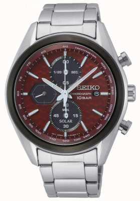 Seiko Solare maschile | bracciale in acciaio inossidabile | quadrante cronografo rosso SSC771P1