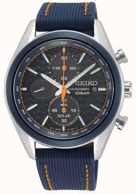 Seiko Solare maschile | cinturino in silicone blu | quadrante cronografo blu SSC775P1