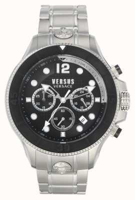 Versus Versace Volta contro uomini | bracciale in acciaio inossidabile | quadrante nero VSPVV0420