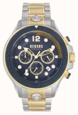 Versus Versace Volta contro uomini | bracciale in acciaio bicolore | quadrante blu VSPVV0520