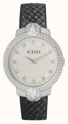 Versus Versace | delle donne | mouffetard | cinturino in pelle nera | quadrante bianco | VSPLK1120