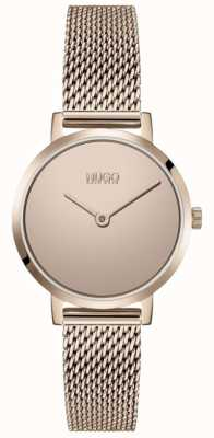 HUGO #cherish | bracciale in maglia pvd oro rosa | quadrante in oro 1540085