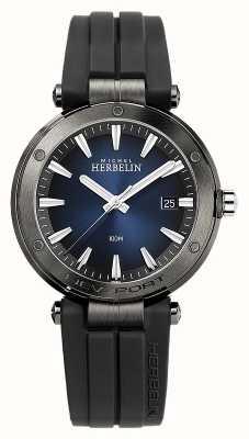 Michel Herbelin Newport uomo | cinturino in caucciù nero | quadrante blu 12288/G15CA