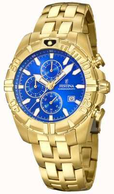 Festina Chrono sport quadrante blu placcato oro F20356/2