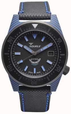 Squale Stile carbonio | quadrante nero / blu | cinturino in microfibra nera - cuciture blu T183BL-CINT183BL