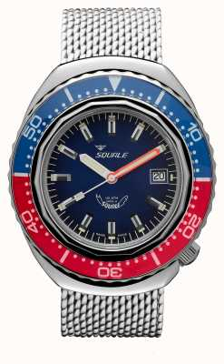 Squale 2002a blu-rosso | cinturino in maglia d'acciaio | quadrante blu B083401-CINSS22