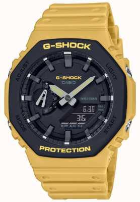 Casio | g-shock | anima in carbonio | lunetta a strati | cinturino in caucciù giallo | GA-2110SU-9AER