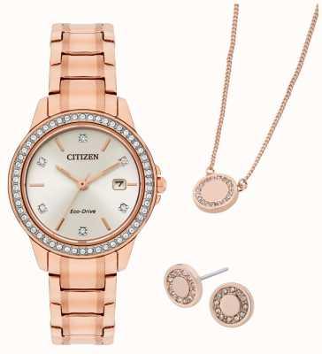 Citizen Set regalo con orologio e gioielli placcato oro rosa Eco-drive FE1173-52A