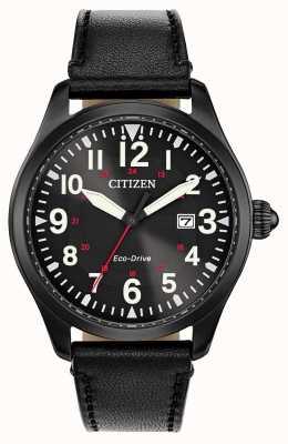 Citizen Presidio militare eco drive maschile | cinturino in pelle nera BM6835-15E