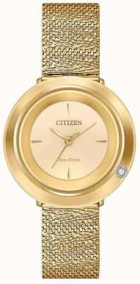 Citizen Ambiluna donna | bracciale in maglia color oro | quadrante champagne EM0642-52P