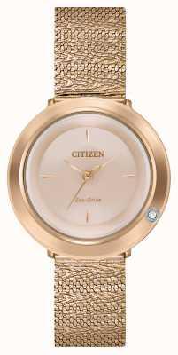 Citizen Ambiluna donna | bracciale in maglia oro rosa | quadrante in madreperla EM0643-50X