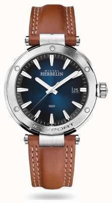 Michel Herbelin Newport | cinturino in pelle marrone | quadrante blu 12288/15GON