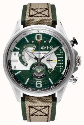 AVI-8 Hawker Harrier II | cronografo | quadrante verde | cinturino nato beige in pelle verde AV-4056-02