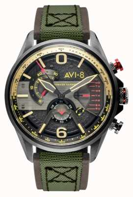AVI-8 Hawker Harrier II | cronografo | quadrante grigio | cinturino nato verde in pelle marrone AV-4056-03
