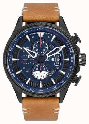 AVI-8 Hawker hunter | cronografo | quadrante blu | cinturino in pelle marrone AV-4064-01