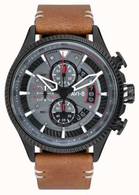 AVI-8 Hawker hunter | cronografo | quadrante grigio | cinturino in pelle marrone AV-4064-03