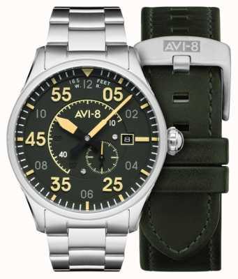 AVI-8 Spitfire | automatico | quadrante verde bracciale in acciaio inossidabile | cinturino in pelle extra AV-4073-22