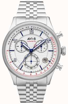 AVI-8 Flyboy lafayette | cronografo | quadrante bianco | bracciale in acciaio inossidabile AV-4076-11