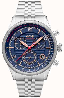 AVI-8 Flyboy lafayette | cronografo | quadrante blu | bracciale in acciaio inossidabile AV-4076-22