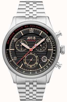 AVI-8 Flyboy lafayette | cronografo | quadrante nero | bracciale in acciaio inossidabile AV-4076-33