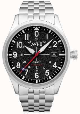 AVI-8 Flyboy | automatico | quadrante nero | bracciale in acciaio inossidabile AV-4075-11