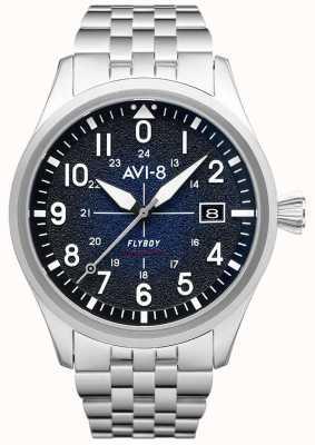 AVI-8 Flyboy | automatico | quadrante blu | bracciale in acciaio inossidabile AV-4075-22