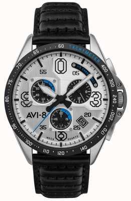 AVI-8 Mustang P-51 | cronografo | quadrante argento | cinturino in pelle nera AV-4077-01