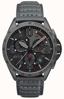 AVI-8 Mustang P-51 | cronografo | quadrante grigio | cinturino in pelle grigia AV-4077-03